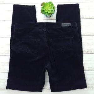 AG black velvet Stevie ankle jeans size 27R